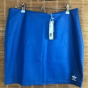 NEW Adidas Mini Skirt Faux Leather Royal Blue